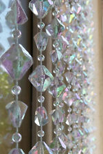 Octahedron Crystal Bead Diamond Curtain Iridescent Beaded Hanging Curtains 3X6Ft