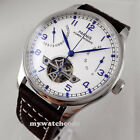 43mm parnis white dial blue marks power reserve seagull automatic mens watch 13