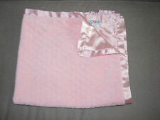 COCALO PLAIN SOLID PINK MINKY DOT BUMP BABY GIRL BLANKET SATIN
