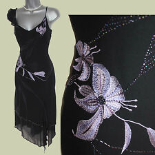 Karen Millen Black Embellished Silk V-Neck Straps Asymmetric Hem Dress sz10 EU38