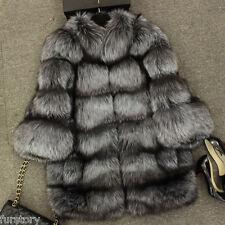 151212 Real Whole Skin Fox Fur Coat Womens Winter Warm Jacket Fashion Overcoat
