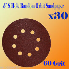 "5"" 8 Hole 60 Grit Sand Disc Paper Random Orbit Hook and Loop Sander #60 Sanding"