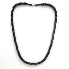 JET BLACK BEADS GOTH SURF BEACH STYLE ROUND BEADED NECKLACE WITH CLASP