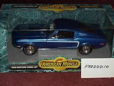 ERTL 1968 FORD MUSTANG COBRA JET 428 BLUE/WHITE 1/18 BLACK STRIPE
