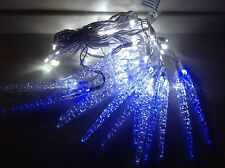 Video 25000 Hours 60 LED  Cool White Blue 16 Icicle Christmas lights Set