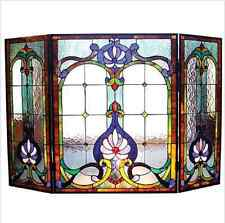 Stained Glass Fireplace Screen Tiffany Style Victorian Decorative Panel Decor