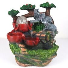 "Water Fountain w/ LED Lights Elephants Playing Zen Indoor Home Decor 10.5""H New"