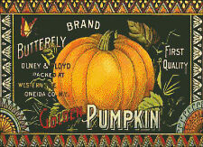"""Vintage Butterfly Pumpkin Label""  Cross Stitch Pattern"