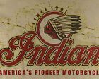 Indian U.S.A.Motorcycles Classic Biker Distressed Print Natural T-Shirt