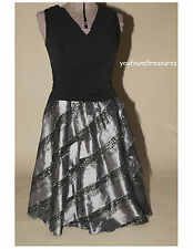 SL Fashions Womens Black Silver Cocktail Evening Dress for Holiday Wedding Sz 10