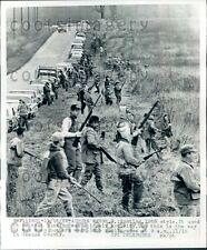 1968 Mass Group of Hunters With Rifles Head Out Geauga County Ohio Press Photo