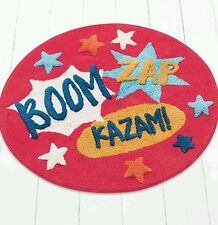 SUPERHERO BEDROOM RUG..SLOGANS... BOOM.. ZAP.. KAZAM..GR8 FUNKY RUG KIDS LOVE IT