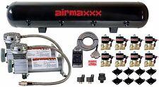 """Air Ride Air Compressors 400 Pewter AirMaxxx 1/2""""npt Valves Clear 7 Switch Tank"""