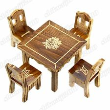 Wooden Dollhouse Miniature Furniture Mini Dining Room 1pc Table & 4pcs Chair Toy