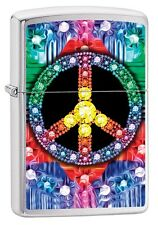 "ZIPPO ""GEMED PEACE SIGN"" BRUSHED CHROME COLOR LIGHTER ** NEW in BOX **"