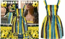 $2285 DOLCE GABBANA MAJOR SALE! SICILY STRIPED SHORT SILK ORGANZA DRESS 42 6