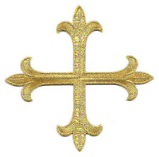 """Cross - Greek Cross Fleur - Embroidered Gold Rayon Iron On Patch - 5"""""""