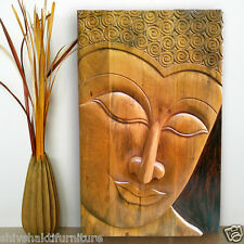 Handcrafted carved Wooden Buddha Wall Panel (3'x2')  - LE-90004-2t