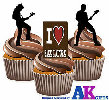 Bass Rock Guitar Silhouette Mix 12 Edible Stand Up Cup Cake Toppers Decorations