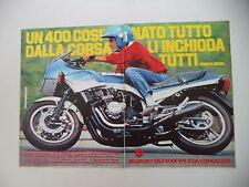 advertising Pubblicità 1983 MOTO SUZUKI GSX 400 FWS e FRANCO UNCINI