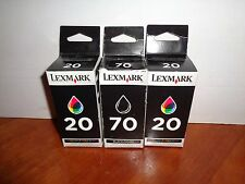Lot 3 GENUINE Lexmark 70/20 Ink Cartridges 1 Black 2 Color Combo Set Free Ship