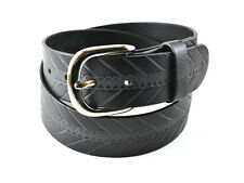 LEATHER BELT SNAP BUTTON CHANGEABLE METAL BUCKLE HARNESS STRENGTH BLACK