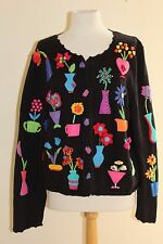 Vintage 98 Michael Simon Funky Art-to-Wear Floral Fantasy Cardigan Sweater XL