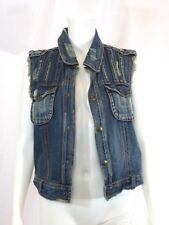 FREE PEOPLE Crochet Distressed Denim Jean Jacket Vest Sz S