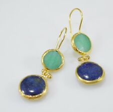 Ottoman Gems semi precious gem stone gold plated earrings Jade Lapis Handmade