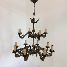 Vintage Antique Style Two Tier 12 Arm Brass  Chandelier