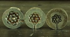 Vintage French button making molds, 'Geometric' graduated set of three. (7)