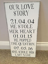 Personalised Wedding Valentines Home Wooden Sign Love Story Shabby Chic Vintage