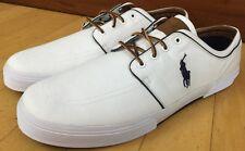 Polo Ralph Lauren Faxon Low White Canvas Suede Men Sneakers Shoes Size 17D NWOB