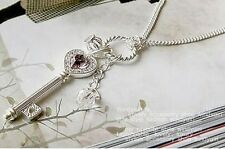 Beautiful Amethyst Love Color Crown Key Necklace Silver Color Sweater Chain*
