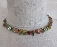Andersen Vintage PILGRIM Necklace GEO Gold/Green/Orange/Swarovski & Enamel BNWT
