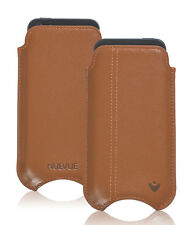 For Apple iPhone 4 Tan Genuine Leather NueVue Screen Cleaning Sleeve Cover Case