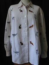 Embroidered Cats Button Down Shirt Top M Medium Long Sleeve Kitty Stripe