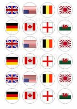 24 FLAG FLAGS  CUPCAKE TOPPER ICED  ICING EDIBLE FAIRY CAKE BUN TOPPERS