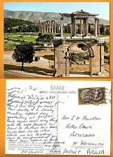 GREECE VINTAGE POSTCARD/ STAMP 1965 PHOTO ATHENS  ADRIAN'S GATE AND OLYMPIEION