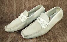 GUCCI Suede Leather Horse Bit Loafers Shoes Off Ivory Men's 9.5 D