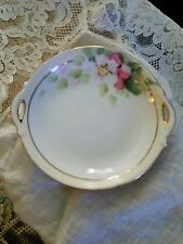 Hand painted NIPPON pink flower salt butter dish 3 1/4""