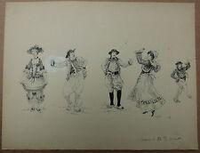 Dessin Ancien Encre Illustration FRIM Costume Folklorique Danseurs Danse 1890