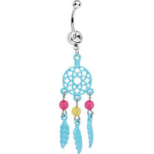 14ga Dream Catcher with Blue Feather Dangle Belly Navel Piercing Ring - N94282