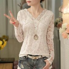 Women Lady V Neck White Hollow Lace T-shirt Long Sleeve Blouse Casual Shirt Tops