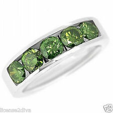 GREEN DIAMOND BAND RING! ESTATE! 1.60 CARATS IN 14K WHITE GOLD! SIZE 6.75 USA!