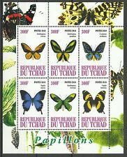 Tchad Chad Papillons Butterflies Schmetterlinge ** 2010 Bloc Faciale 1800 Francs