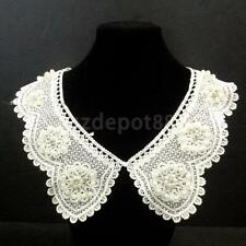 Beaded Flower White Neckline Lace Collar Trim DIY SEW ON Sewing Applique