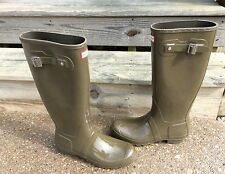 Hunter Women's Original Tall Gloss Rain Boots Swamp Green Size US 11 EU 43