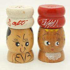Vintage Salt And Pepper Shakers Set Chef Cook Man Woman Wood Hand Painted Japan