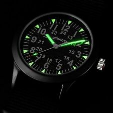 INFANTRY Mens Quartz Wrist Watch Ultra Thin Slim Nite Sport Military Black Nylon